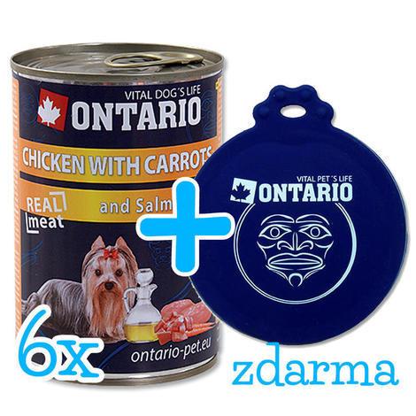 6 x ONTARIO konzerva Chicken, Carrots, Salmon Oil 400g + univerzální víčko zdarma  - 1