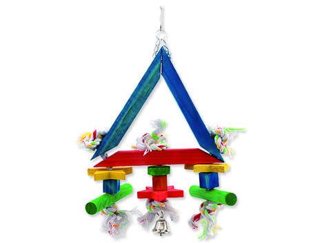 Hračka BIRD JEWEL Trojúhelník závěsná dřevo - provaz 36 cm