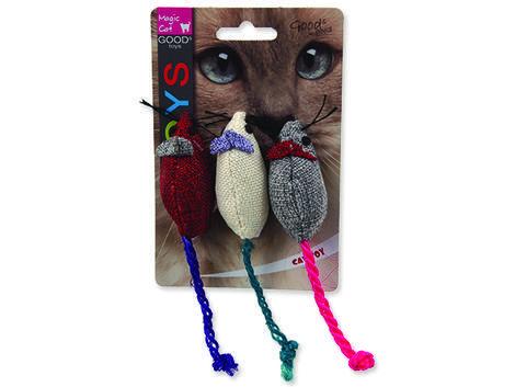 Hračka MAGIC CAT myška jutová barevná s catnipem 7,5 cm 3ks