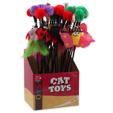 Hračka MAGIC CAT prut s bambulí a hračkou mix 6 cm + 45 cm 50ks