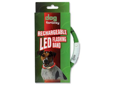 Obojek DOG FANTASY LED světelný zelený  70 cm