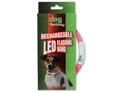 Obojek DOG FANTASY LED světelný růžový  70 cm