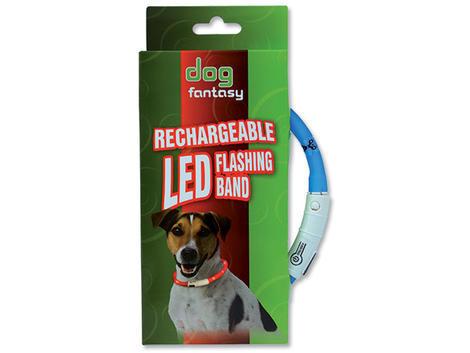 Obojek DOG FANTASY LED světelný světle modrý  70 cm