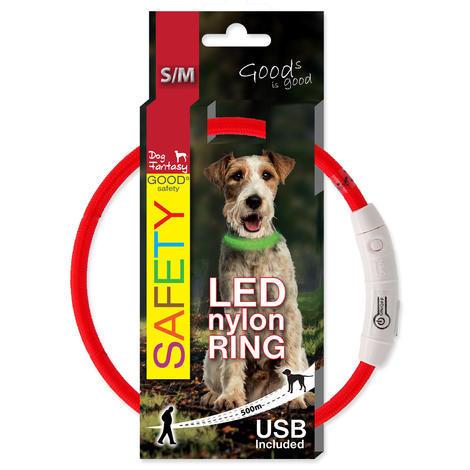 Obojek DOG FANTASY LED nylonový červený  S/M