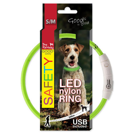 Obojek DOG FANTASY LED nylonový zelený S/M