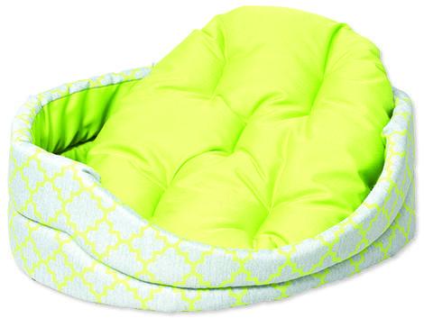 Pelech DOG FANTASY ovál s polštářem ornament zelený  93 cm