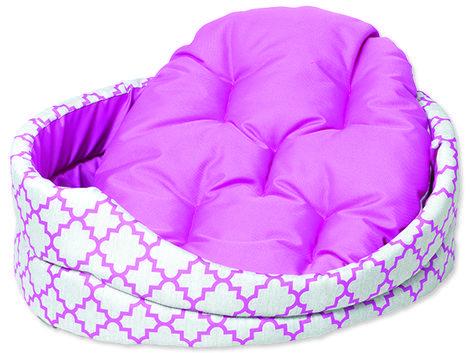Pelech DOG FANTASY ovál s polštářem ornament růžový  50 cm