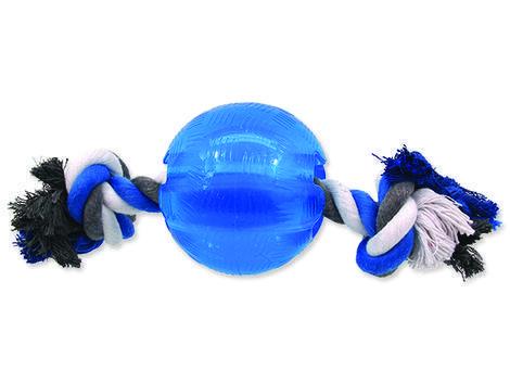Hračka DOG FANTASY Strong míček gumový s provazem modrý 1ks