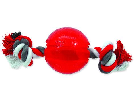Hračka DOG FANTASY Strong míček gumový s provazem červený 1ks