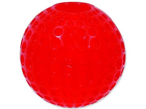 Hračka DOG FANTASY Strong míček gumový s důlky červený 9,5 cm 1ks