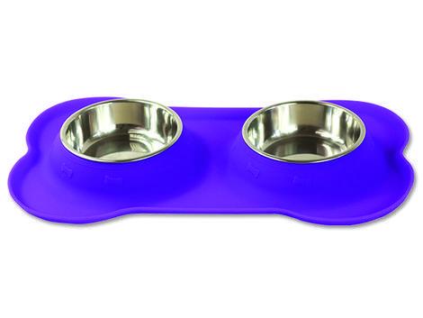 Podložka DOG FANTASY silikonová s miskami fialová  S