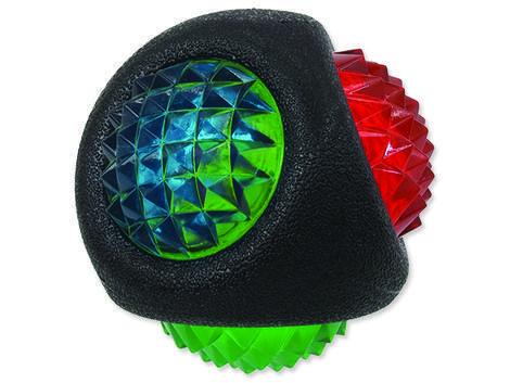 Hračka DOG FANTASY TPR LED míček černý  7,7 cm