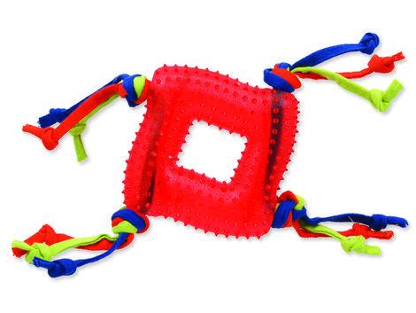 Hračka DOG FANTASY čtverec s provázky gumový červený 20 cm 1ks