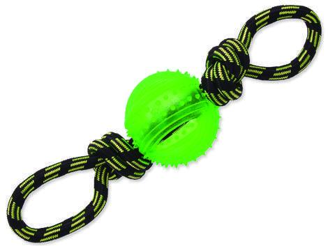 Přetahovadlo DOG FANTASY lano s míčem zelené 35 cm 1ks