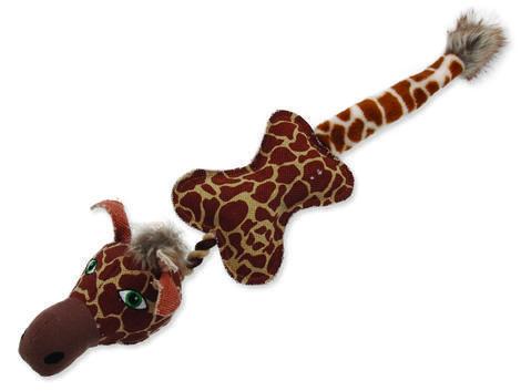 Hračka DOG FANTASY textilní žirafa s provazem 1ks