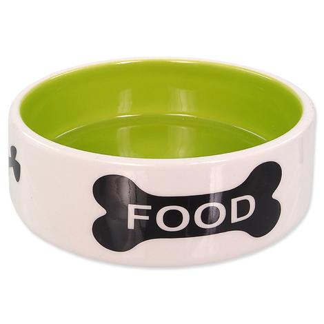 Miska DOG FANTASY keramická potisk kost bílo-zelená 12,5 cm 0,28l