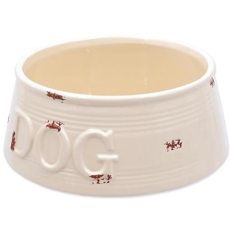 Miska DOG FANTASY keramická bílá fialové body 20,5 cm 1,6l