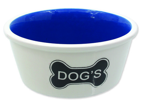 Miska DOG FANTASY keramická bílá vzor kost Dogs 1,6l