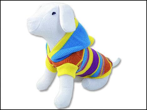 Svetr DOG FANTASY s modrou kapucí a proužky  XL