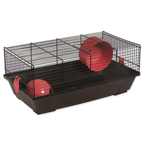 Klec SMALL ANIMAL Viktor černá s červenou výbavou 50,5 x 28 x 21 cm