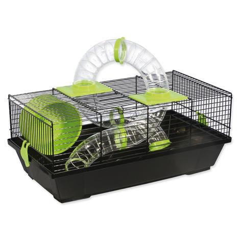 Klec SMALL ANIMAL Libor černá se zelenou výbavou 50,5 x 28 x 21 cm