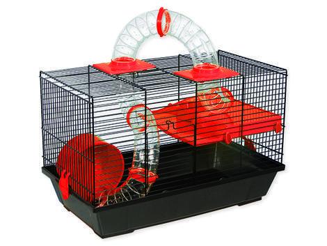 Klec SMALL ANIMAL Patrik černá s červenou výbavou 50,5 x 28 x 32 cm