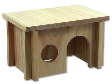 Domek SMALL ANIMAL dřevěný hladký 20 x 13 x 12 cm