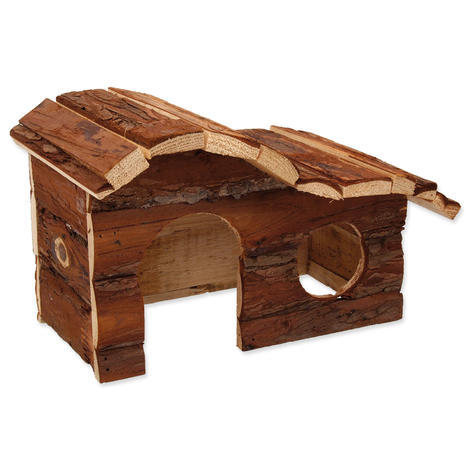Domek SMALL ANIMAL Kaskada dřevěný s kůrou 26,5 x 16 x 13,5 cm