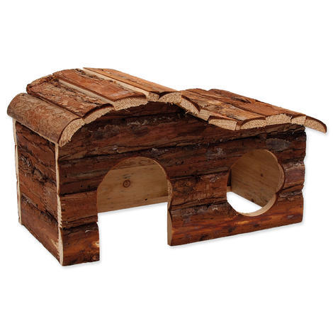 Domek SMALL ANIMAL Kaskada dřevěný s kůrou 31 x 19 x 19 cm