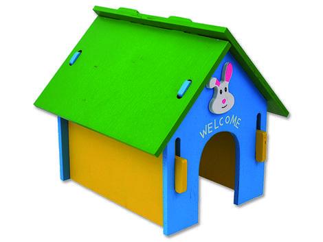 Domek SMALL ANIMAL dřevěný barevný 24,5 x 22,5 x 23 cm