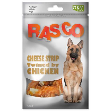 Pochoutka RASCO proužky sýru obalené kuřecím masem 80g