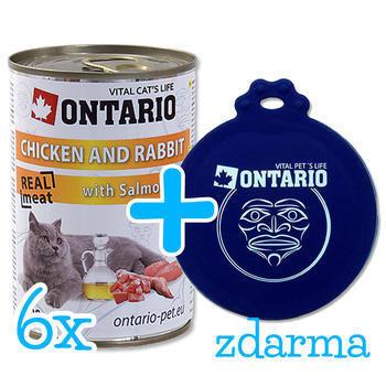 6 x ONTARIO konzerva Chicken, Rabbit, Salmon Oil 400g + univerzální víčko zdarma  - 1