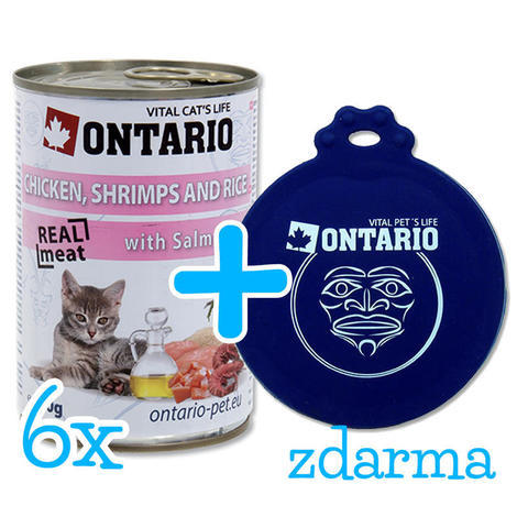 6 x ONTARIO konzerva Kitten Chicken, Shrimp, Rice and Salmon Oil 400g + univerzální víčko zdarma  - 1