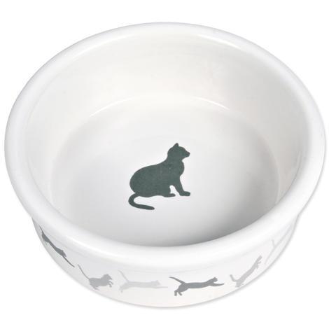 Miska TRIXIE keremická vzor kočka bílá 0,2l