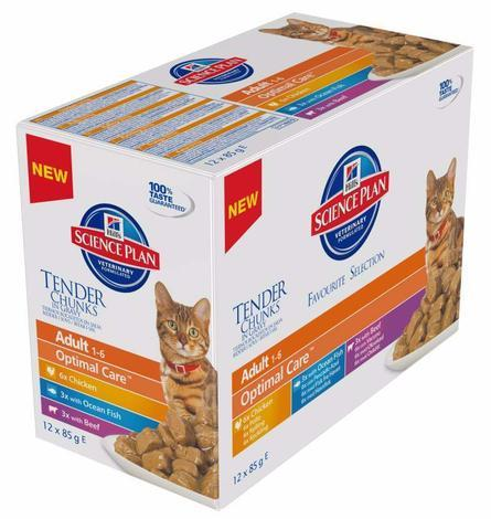 Hill's Feline Adult kaps.CH+Fish+Beef -Multipack 12X85g