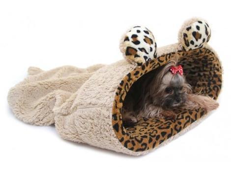 Marysa pelíšek 2v1 s lemem, MYŠÁK, béžový/leopard, velikost XL