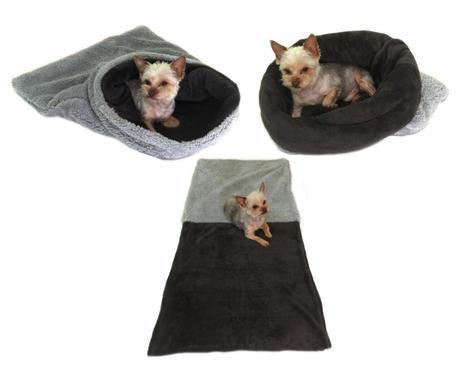 Marysa pelíšek 3v1 pro psy, DE LUXE, šedý/tmavě šedý, velikost XL