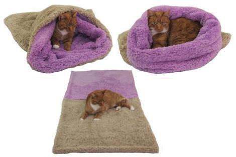 Marysa pelíšek 3v1 pro kočky, DE LUXE, béžový/fialový XL