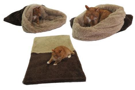Marysa pelíšek 3v1 pro kočky, DE LUXE, tmavě hnědý/béžový XL