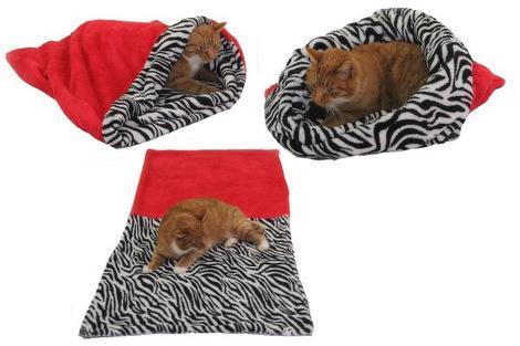 Marysa pelíšek 3v1 pro kočky, červený/zebra XL