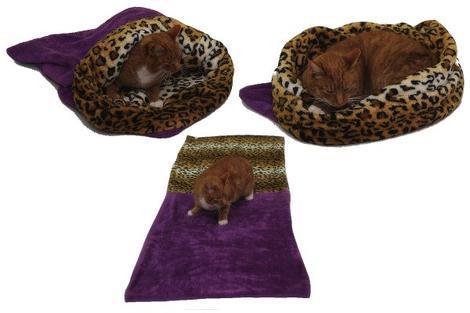 Marysa pelíšek 3v1 pro kočky, fialový/leopard XL