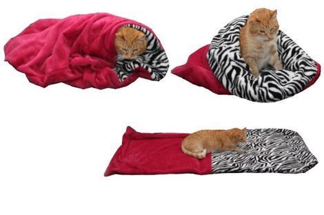 Marysa pelíšek 3v1 pro kočky, fuchsiový/zebra XL