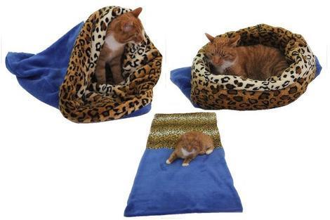 Marysa pelíšek 3v1 pro kočky, modrý/leopard XL