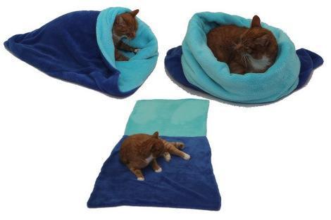 Marysa pelíšek 3v1 pro kočky, modrý/tyrkysový XL