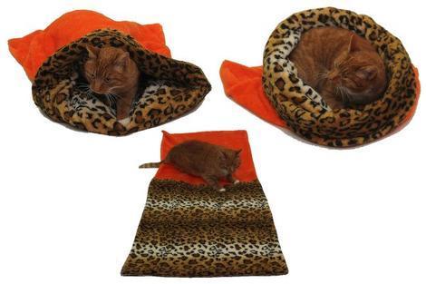 Marysa pelíšek 3v1 pro kočky, oranžový/leopard XL