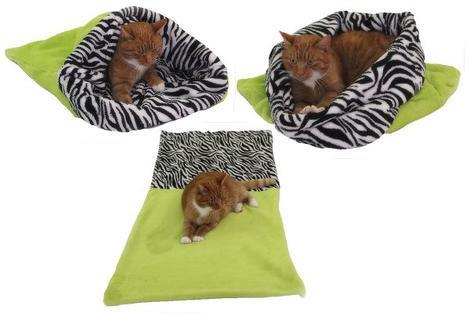 Marysa pelíšek 3v1 pro kočky, světle zelený/zebra XL