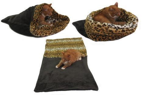 Marysa pelíšek 3v1 pro kočky, tmavě šedý/leopard XL
