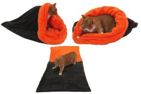 Marysa pelíšek 3v1 pro kočky, tmavě šedý/oranžová XL