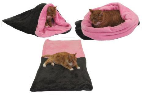 Marysa pelíšek 3v1 pro kočky, tmavě šedý/světle růžový XL