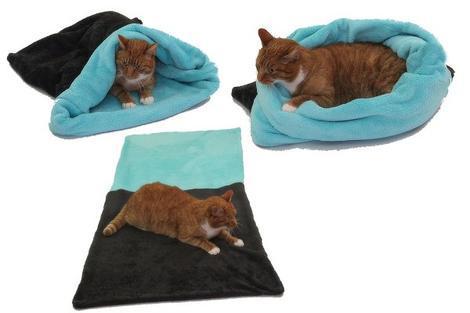 Marysa pelíšek 3v1 pro kočky, tmavě šedý/tyrkysový XL